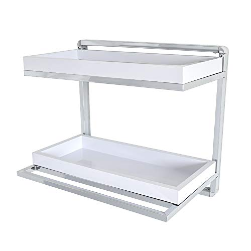 - Danya B. HA80582 Bathroom Accessories and Décor - Wall Mount 2-Tier Chrome Shelving Unit with Towel Rack and White Removable Trays