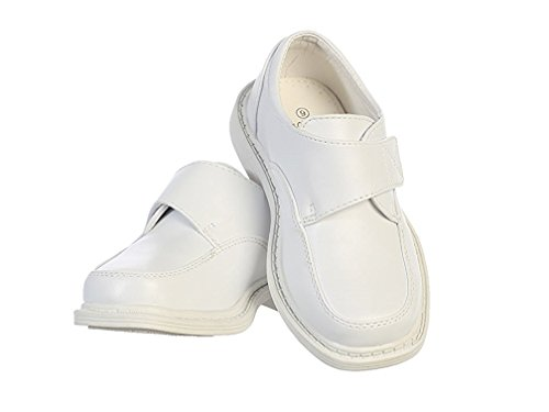 Boys Matte Dress Shoes w/ Hook and Loop Fastener Strap White 4Y	 -