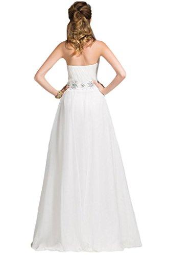 sunvary una línea sin tirantes gasa dama de honor vestidos de con lazo de largo blanco