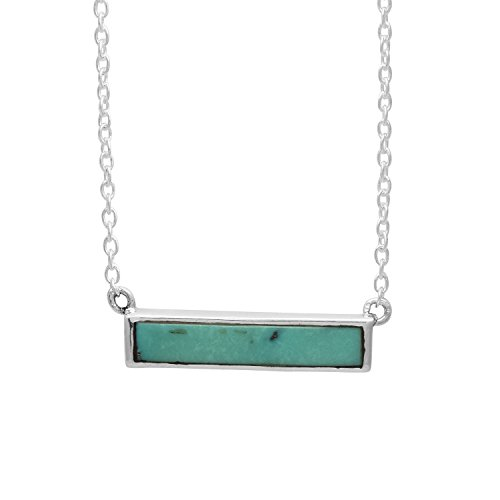 Shine Jewel Bezel Set Blue Turquoise 925 Silver Handmade Bar Necklace Pendant with Chain