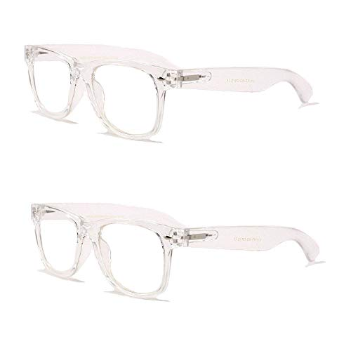 Clear Reading Glasses - 2 Pairs Transparent Neon Color Deluxe Reading Glasses - Comfortable Stylish Simple Readers Rx Magnification (Clear, 1.75)