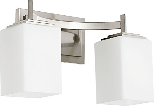 Quorum International 5084-2-65 Vanity Lights with Satin Opal Shades, Nickel