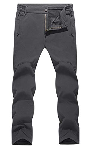 MAGCOMSEN Men Skiing Pants Waterproof Softshell Pants Belted Climbing Pants Zip Pockets Snowboarding Pants Men