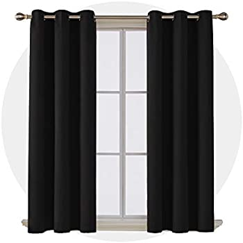 Deconovo Room Darkening Noise Reducing Thermal Insulated Grommet Window Blackout Curtains for Living Room 2 Curtain Panels Pair Black 42x63 Inch