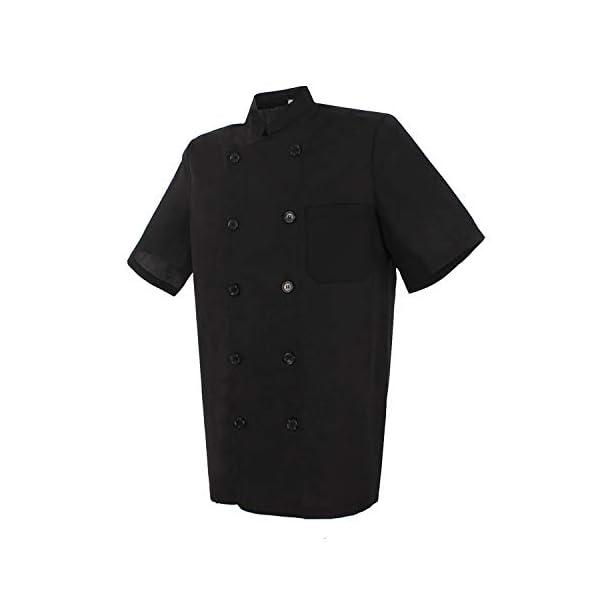MISEMIYA Chaquetas Bar Restaurante Ropa Cocinero con Mangas Cortas Camisa de utilidades de Trabajo Hombre 1