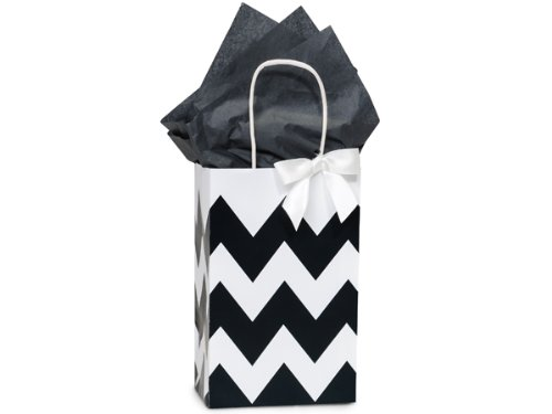 Pack Of 25, Rose 5.25 X 3.5 X 8.25'' Chevron Stripe Black Recycled White Shopping Bags W/White Paper Twist Handles Made In USA
