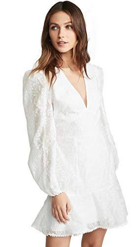 Keepsake The Label Women's Wild Love Puff Sleeve Burnout Lace Plunging Short Dress, Ivory, xs