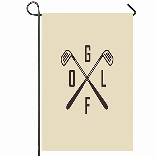 (Ahawoso Outdoor Garden Flag 28x40 Inches Retro Emblems Two Crossed Golf Clubs Ball Artwork Sports Recreation Vintage Certificate Badge Best Seasonal Home Decorative House Yard Sign)