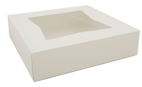 "Southern Champion Tray 24233 Paperboard White Window Bakery Box, 10"" Length x 10"" Width x 2-1/2"" Height (Case of 200)"