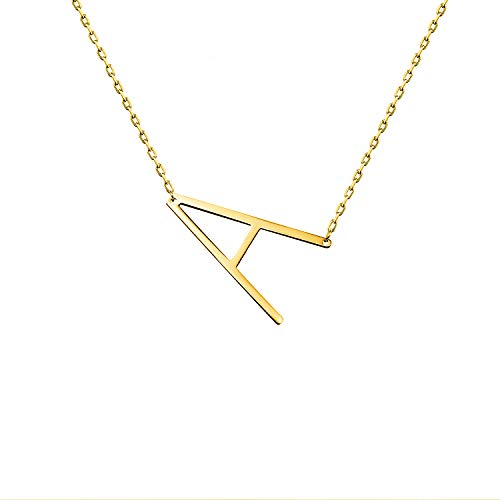 WIGERLON Stainless Steel Initial Letters Necklace for Women and Girls Color Gold and Silver from A-Z Letter A Color Gold (Stainless Steel Necklace Gold)