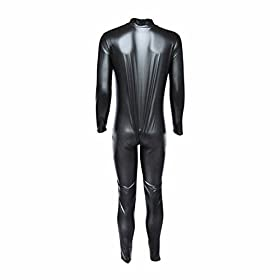 - 31ZjjjntDRL - Iffee Men's Wet Look PVC Leather Long Sleeves Catsuit Jumpsuit Costumes
