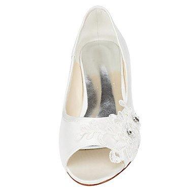 mujeres blanco las boda de cristal pisos tarde soporte de fiesta Stretch de soporte marfil primavera vestido Cómodo otros elegante otros zapatos satén talón y verano y de beige de wxZYw1z0q