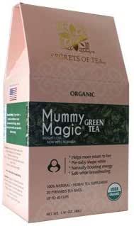 Mummy Magic Green Tea by Secrets of Tea - Natural Postpartum Weight Loss Tea with no chemicals & no caffeine- Safe while breastfeeding- 20 Sachets- Up to 40 servings