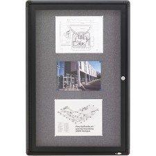 Quartet Enclosed Fabric Bulletin Board, 2 x 3 Feet, 1 Door, Black Frame with Gray Fabric (2363L)