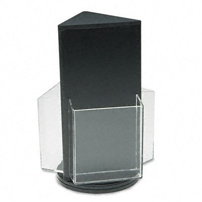 (Deflecto 592704 Countertop revolving 3-pocket leaflet rack, clear pockets, black base,)