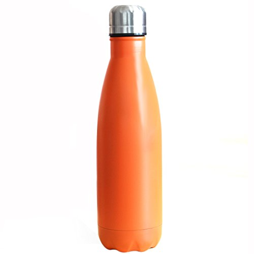 Homeditor Insulation Stainless Steel Water bottle 17oz Double Wall Vacuum Travel Mug for Camping Hiking Cycling Outdoor Sports Festival and Anniversary Gift (Orange)