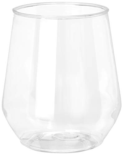 32 count 12 oz Unbreakable Stemless Plastic Wine Champagne Glasses Elegant Durable Reusable Shatterproof Indoor Outdoor Ideal for Home, Office, Bars, Wedding, Bridal Baby Shower ()