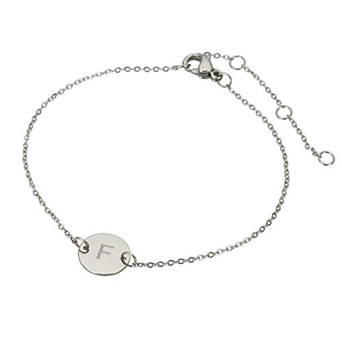 HUAN XUN Stainless Steel Stamped Initial Bracelet Charm F