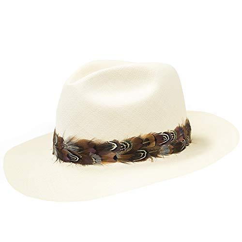 - Ultrafino Hawaiian Feather Hatband Plume Headband Panama Straw Wool Hats Grey