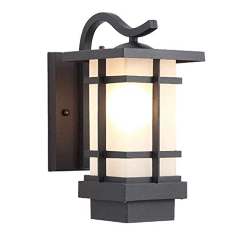 XiaoGuo Waterproof Vintage Wall Light Modern Outdoor Wall Light,Waterproof Grey Frame Wall Lamp for Garden Garage Hallway Gate E27