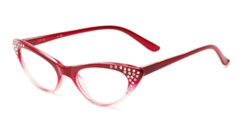 Readers.com Fully Magnified Reading Glasses: The Paulina, Trendy Women's Cat Eye Reader with Rhinestones - Red Fade, 2.00