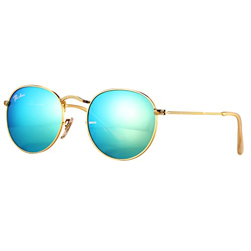 Pro Acme PA3447 Classic Crystal Glass Les Retro Round Metal Sunglasses,50mm (Crystal Green Mirrored ()
