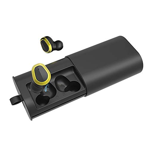 Bluetooth Earbuds,Xunpuls Bluetooth 5.0 True Wireless Earbuds 110H Playtime 3D Stereo Sound Wireless Earbuds Built-in Microphone and 2200mAh Charging Case for Cell Phone (Black). (TWS-HX2)