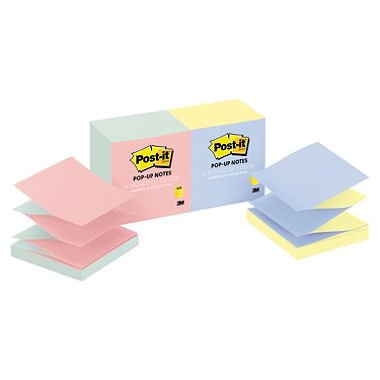 Post-it Pop-up Notes Pop-up Refill 4 Alternating Marseille Colors 3 x 3, 100/Pad 12 Pads/Pack