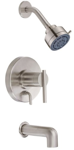(Danze D500058BNT Parma Single Handle Tub and Shower Faucet Trim Kit with 3-Inch Three Function Showerhead, Brushed Nickel)