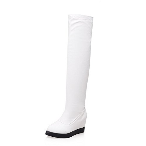 Allhqfashion Women's Solid High-Heels Round Closed Toe PU Pull-on Boots White 6unRGO1Ikg