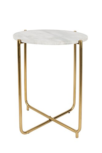 Felis Lifestyle 2300102-Timpa Mesa Auxiliar de marmol 44,5x 44,5x 54cm, marmol, Blanco, 44.5x44.5x54 cm