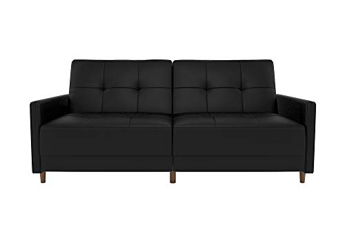 DHP Andora Coil Futon Sofa Bed Couch with Mid Century Modern Design images