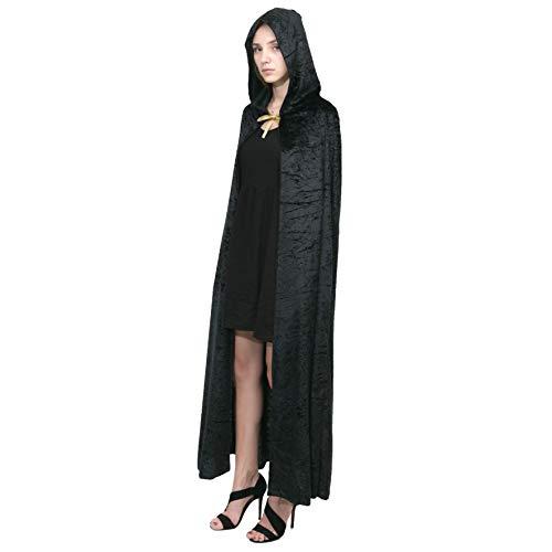 Spooktacular Creations Hooded Velvet Cloak Halloween Women Witch Cape Costume Accessory Black
