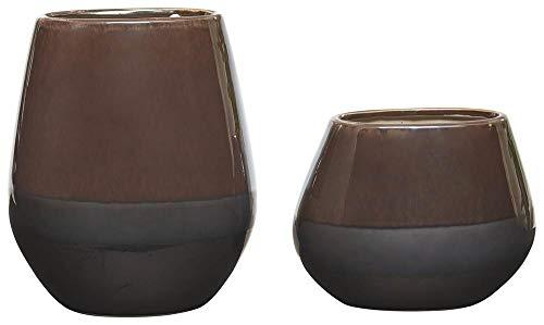 Ashley Furniture Signature Design - Emiliano Vases - Set of 2 - Contemporary - Glazed Ceramic - Taupe