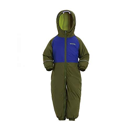 Regatta Childrens/Kids Mudplay III Hooded Rainsuit (18-24 Months) (Olive Green/Gentian Blue)