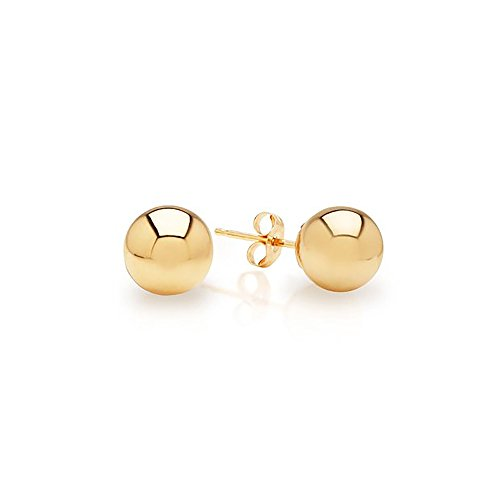 IcedTime 14k Yellow Gold Ball Stud Earrings pushback 3 4 5 6 7 8 10 12 14 MM (4 Millimeters) ()