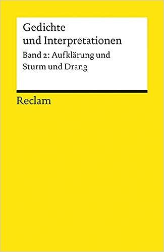 Aufklarung Und Sturm Und Drang German Edition Gedichte