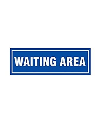 999Store Waiting Area Sticker Sign Board Blue 30X10 Cms