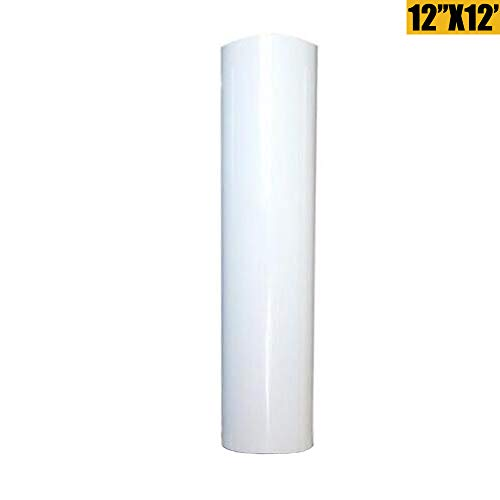 Heat Transfer Vinyl HTV for T-Shirts 12 Inches by 12 Feet Rolls (White, 12inx12ft)