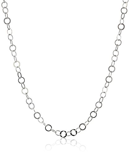 Sterling Silver 0.3mm Flat Circle-Link Chain Necklace, (Sterling Silver Circle Link Necklace)