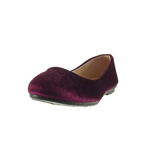 Angkorly - Chaussure Mode Ballerine slip-on femme Talon plat 1 CM - Bordeaux