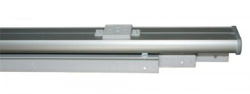 Set aus 3 läufiger Gardinenschiene in alu - silber mit Deckenclips, Kunststoff Paneelwagen und Schleuderstab, 200 cm