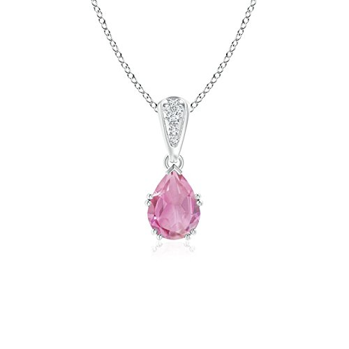 (Vintage Style Pear Pink Tourmaline Drop Pendant with Diamonds in Platinum (7x5mm Pink Tourmaline))