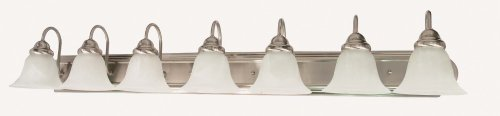 Nuvo Lighting 60/3213 Ballerina 7-Light 48-inch Vanity with Alabaster Glass Shade, Brushed Nickel