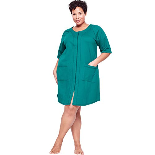 Dreams & Co. Women's Plus Size Short Sleeve French Terry Robe - Waterfall, 1X