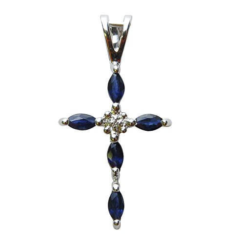 14K White gold Sapphire and Diamond Cross Shaped Pendant