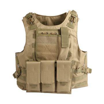 Cloth Vest Shooting (Coumouflage Military Tactical Vest Combat Assault Protective Clothes CS Shooting Hunting Vest - Fishing & Hunting Tactical Supplies - (Khaki) - 1 x Chest Bag)