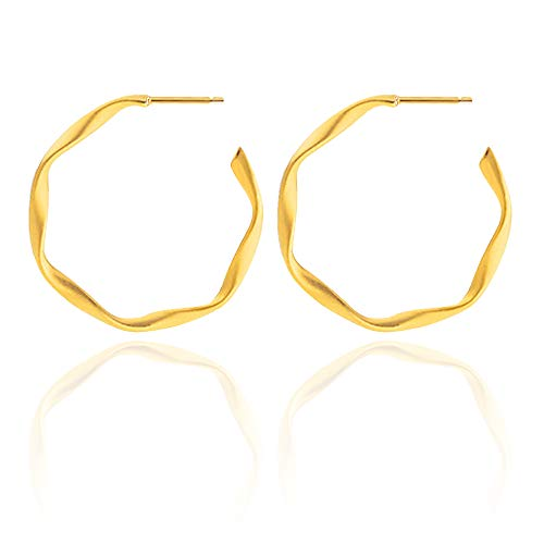 (Hoop earrings Hypoallergenic Gold plated Stainless steel Twist Round Hoop earrings for Women Girls Matte Finish 35mm)