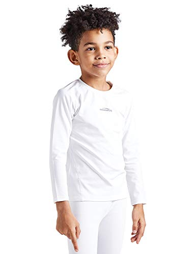 - COOLOMG Boys Girls Thermal Long Sleeve Compression Shirts Fleece Lined Base Layer Tops Soccer Hockey Sport White XL