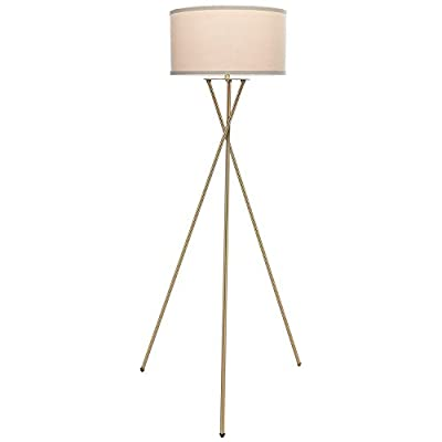 Brightech Jaxon Tripod LED Floor Lamp – Mid Century Modern, Living Room Standing Light – Tall, Contemporary Drum Shade Lamp for Bedroom or Office – Brass/Gold -  - living-room-decor, living-room, floor-lamps - 31ZkDsooWOL. SS400  -